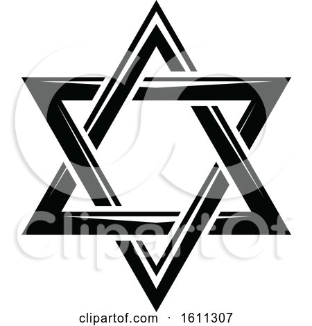Clipart of a Black and White Star of David - Royalty Free Vector Illustration by Vector Tradition SM