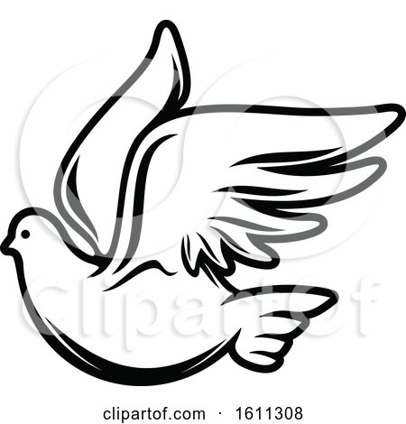 Clipart of a Black and White Dove - Royalty Free Vector Illustration by Vector Tradition SM