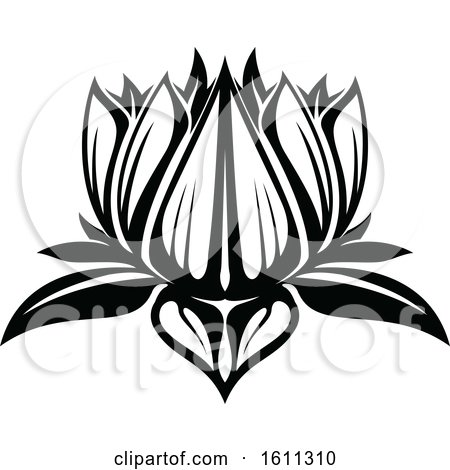 Clipart of a Black and White Lotus - Royalty Free Vector Illustration by Vector Tradition SM