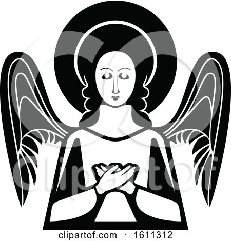 Clipart of a Black and White Angel - Royalty Free Vector Illustration by Vector Tradition SM