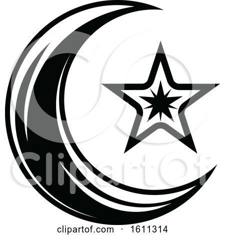 Clipart of a Black and White Crescent Moon and Star - Royalty Free Vector Illustration by Vector Tradition SM