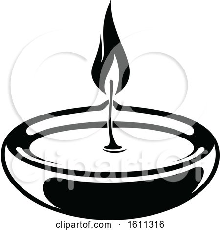 Clipart of a Black and White Oil Candle - Royalty Free Vector Illustration by Vector Tradition SM