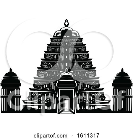 Clipart of a Black and White Temple - Royalty Free Vector Illustration by Vector Tradition SM
