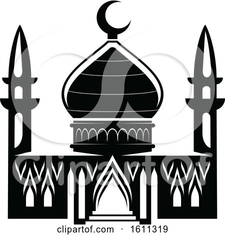 Clipart of a Black and White Mosque - Royalty Free Vector Illustration by Vector Tradition SM