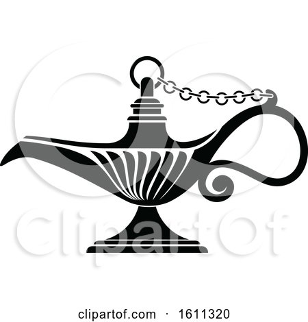 Clipart of a Black and White Oil Lamp - Royalty Free Vector Illustration by Vector Tradition SM