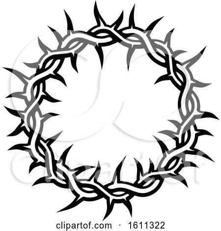 Clipart of a Black and White Crown of Thorns - Royalty Free Vector Illustration by Vector Tradition SM