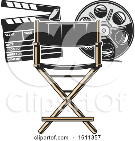 Clipart of a Directors Chair Film Reel and Clapper Board - Royalty Free Vector Illustration by Vector Tradition SM