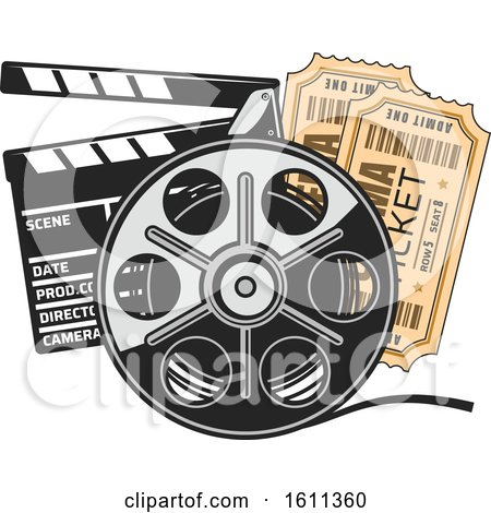 Clipart of a Film Reel Tickets and Clapper Board - Royalty Free Vector Illustration by Vector Tradition SM