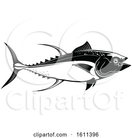 Clipart of a Black and White Tuna Fish - Royalty Free Vector Illustration by Vector Tradition SM