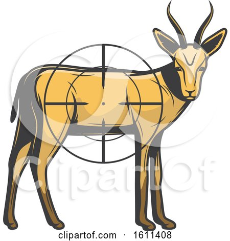 Clipart of an Antelope Hunting Design - Royalty Free Vector Illustration by Vector Tradition SM