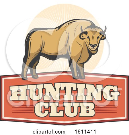 Clipart of a Bison Hunting Design - Royalty Free Vector Illustration by Vector Tradition SM