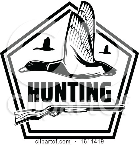 Clipart of a Black and White Duck Hunting Design - Royalty Free Vector Illustration by Vector Tradition SM
