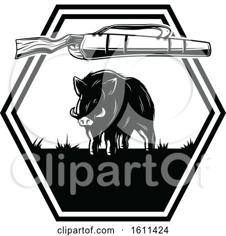 Clipart of a Black and White Boar Hunting Design - Royalty Free Vector Illustration by Vector Tradition SM