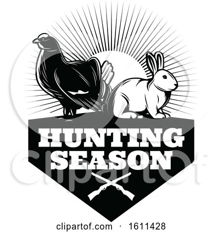 Clipart of a Black and White Grouse and Rabbit Hunting Design - Royalty Free Vector Illustration by Vector Tradition SM