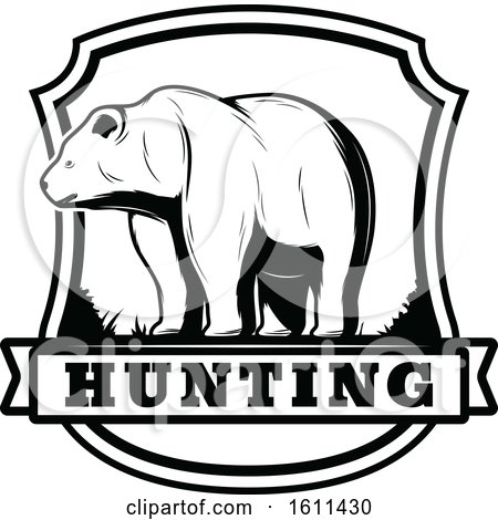 Clipart of a Black and White Bear Hunting Design - Royalty Free Vector Illustration by Vector Tradition SM