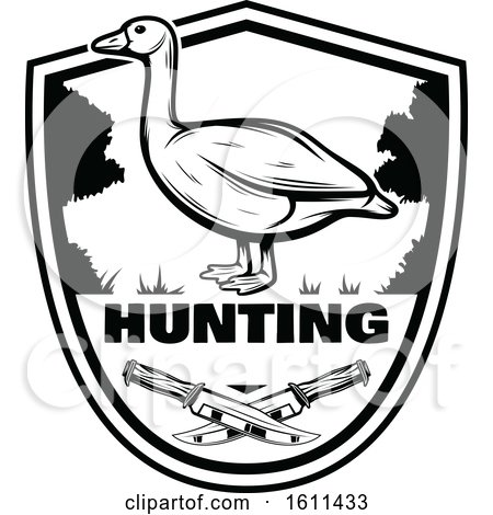 Clipart of a Black and White Goose Hunting Design - Royalty Free Vector Illustration by Vector Tradition SM