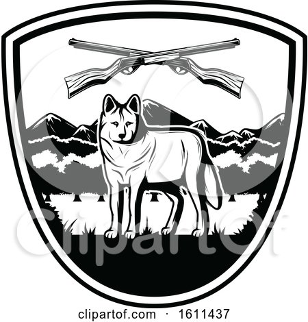Clipart of a Black and White Wolf Hunting Design - Royalty Free Vector Illustration by Vector Tradition SM
