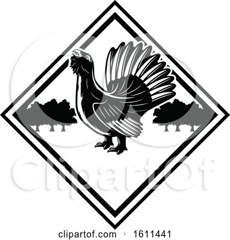 Clipart of a Black and White Bird Hunting Design - Royalty Free Vector Illustration by Vector Tradition SM