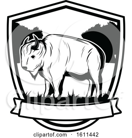 Clipart of a Black and White Bison Hunting Design - Royalty Free Vector Illustration by Vector Tradition SM