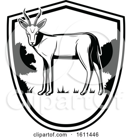 Clipart of a Black and White Antelope Hunting Design - Royalty Free Vector Illustration by Vector Tradition SM