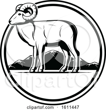Clipart of a Black and White Ram Hunting Design in a Circle - Royalty Free Vector Illustration by Vector Tradition SM