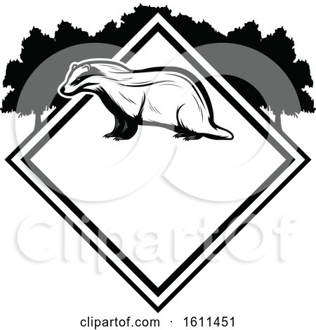 Clipart of a Black and White Badger Hunting Design - Royalty Free Vector Illustration by Vector Tradition SM