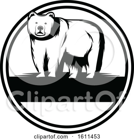 Clipart of a Black and White Bear Design - Royalty Free Vector Illustration by Vector Tradition SM