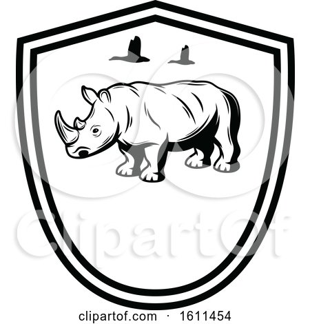 Clipart of a Black and White Rhino Design - Royalty Free Vector Illustration by Vector Tradition SM