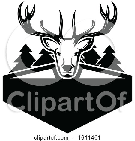 Clipart of a Black and White Deer Hunting Design - Royalty Free Vector Illustration by Vector Tradition SM