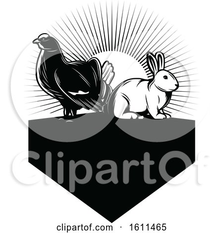 Clipart of a Black and White Grouse and Rabbit - Royalty Free Vector Illustration by Vector Tradition SM