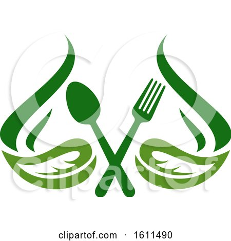 Clipart of a Vegetarian Food Design with a Spoon Fork and Leaves - Royalty Free Vector Illustration by Vector Tradition SM