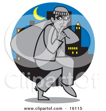 Quiet Burglar Carrying A Sack Of Stolen Goods And Tiptoeing Through A City Under A Crescent Moon At Night Posters, Art Prints