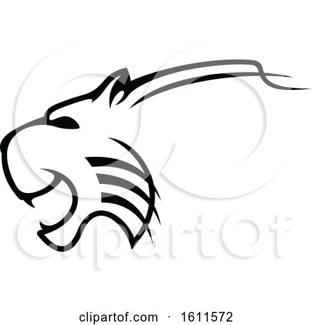 Clipart of a Profiled Angry Big Cat Mascot - Royalty Free Vector Illustration by Vector Tradition SM