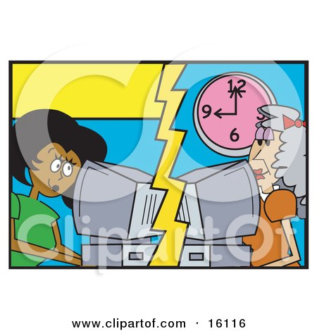 Pretty African American Woman Catting Or Emailing An Elderly Caucasian Woman On A Computer In Another Place Posters, Art Prints