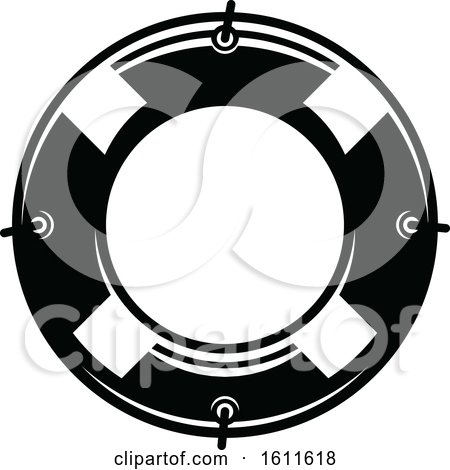 Clipart of a Black and White Nautical Life Buoy - Royalty Free Vector Illustration by Vector Tradition SM