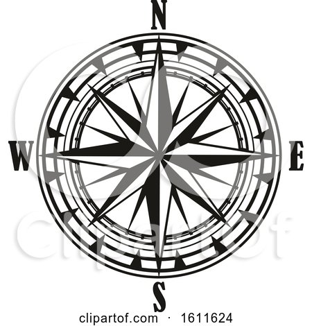 Clipart of a Black and White Directional Compass Rose - Royalty Free Vector Illustration by Vector Tradition SM