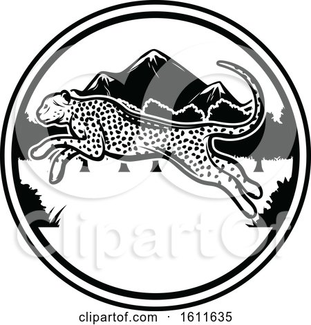 Clipart of a Black and White Leaping Cheetah and Circle Design - Royalty Free Vector Illustration by Vector Tradition SM