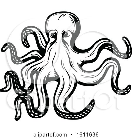Clipart of a Black and White Octopus - Royalty Free Vector Illustration by Vector Tradition SM