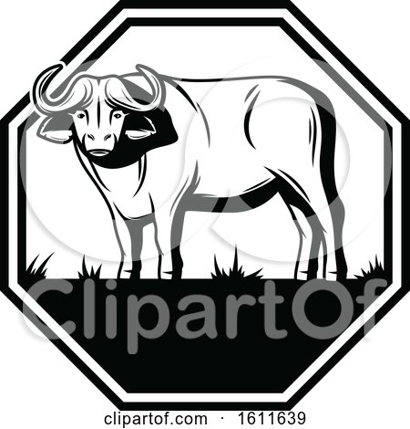 Clipart of a Black and White Water Buffalo Design - Royalty Free Vector Illustration by Vector Tradition SM