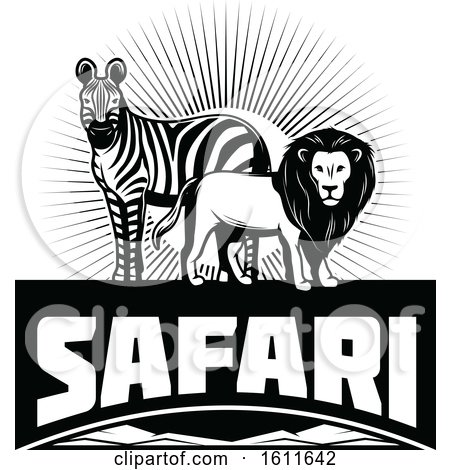 Clipart of a Black and White Zebra and Male Lion over Safari Text - Royalty Free Vector Illustration by Vector Tradition SM