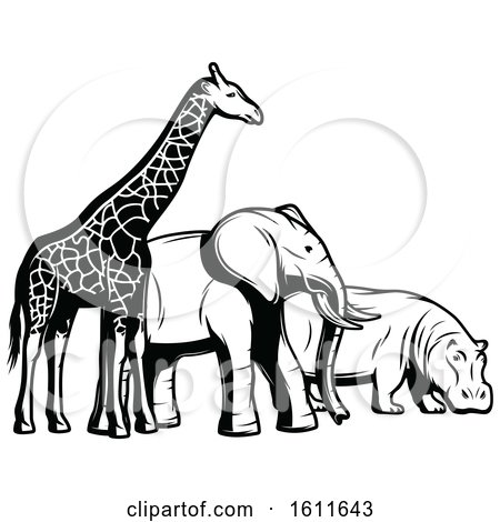 Clipart of a Black and White Giraffe Elephant and Hippo - Royalty Free Vector Illustration by Vector Tradition SM