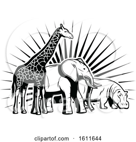 Clipart of a Black and White Giraffe Elephant and Hippo Against Sun Rays - Royalty Free Vector Illustration by Vector Tradition SM