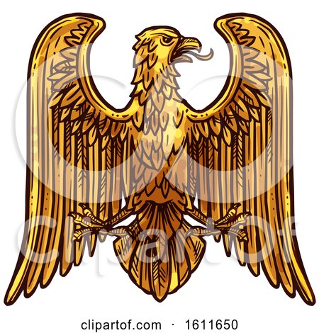 Clipart of a Gold Heraldic Eagle - Royalty Free Vector Illustration by Vector Tradition SM