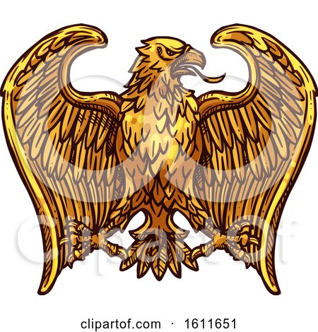Clipart of a Sketched Golden Eagle - Royalty Free Vector Illustration by Vector Tradition SM