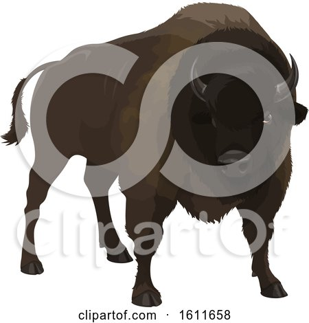 Clipart of a Dark Bison - Royalty Free Vector Illustration by Vector Tradition SM