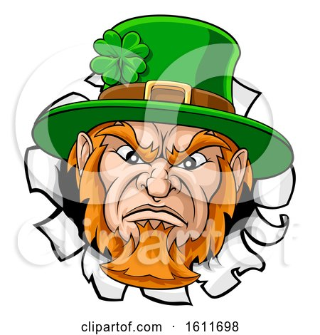 Leprechaun Mascot Cartoon Ripping Background by AtStockIllustration