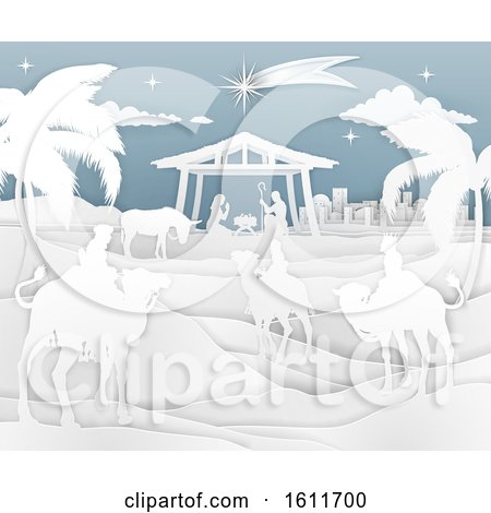 Nativity Christmas Scene Paper Style by AtStockIllustration