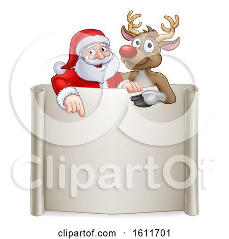 Christmas Santa Claus and Reindeer Cartoon Sign by AtStockIllustration