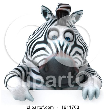Clipart of a 3d Zebra over a Sign, on a White Background - Royalty Free Illustration by Julos