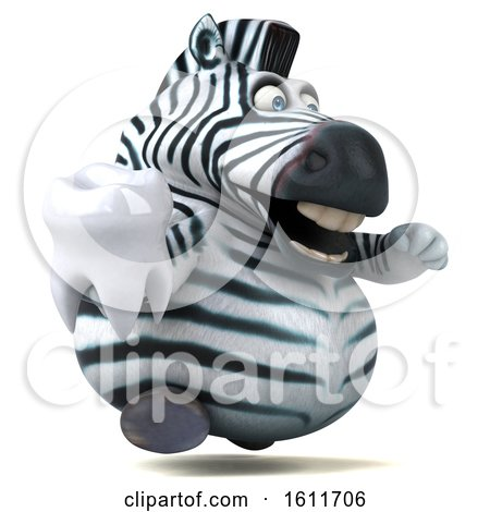Clipart of a 3d Zebra Holding a Tooth, on a White Background - Royalty Free Illustration by Julos